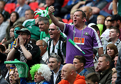 Plymouth Argyle fans show their frustration - Mandatory by-line: Robbie Stephenson/JMP - 30/05/2016 - FOOTBALL - Wembley Stadium - London, England - AFC Wimbledon v Plymouth Argyle - Sky Bet League Two Play-off Final