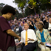 June 4, 2014 - New York, NY : <br /> Janelle Monáe (not pictured) kicked off the 2014 season's innaugural Celebrate Brooklyn! concert in Prospect Park on Wednesday night. New York City Mayor Bill de Blasio, center, attends the concert with his son, Dante, center left, and wife Chirlane McCray, center right. <br /> CREDIT: Karsten Moran for The New York Times
