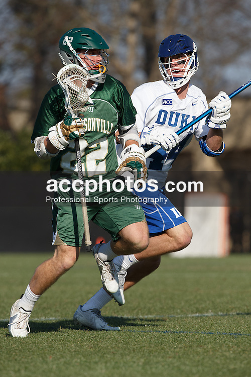 DURHAM, NC - FEBRUARY 08: Ethan Powley #44 of the Duke Blue Devils plays against the Jacksonville Dolphins on February 08, 2014 at Koskinen Stadium in Durham, North Carolina. Duke won 16-10.
