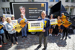 June 3, 2017 - London, London, UK - London, UK. SIMON HUGHES, Liberal Democrat candidate and former Southwark & Old Bermondsey MP reveals a new poster of Theresa May accompanied by the words: ''Don't bet your house on it'' to criticise the so called ''dementia tax'' in central London on Saturday 3 June 2017. (Credit Image: © Tolga Akmen/London News Pictures via ZUMA Wire)