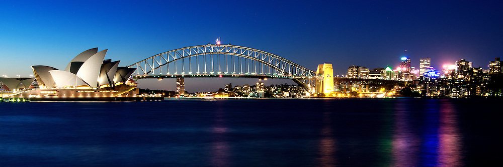 Sydney Opera House and Harbour Bridge Night Scenery in Panorama