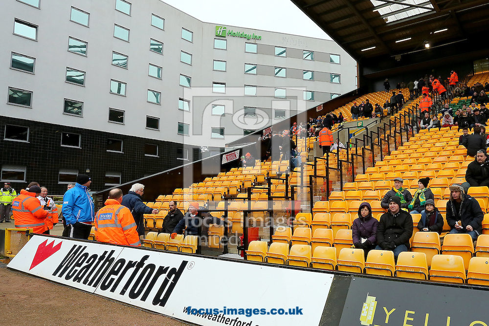 The section for travelling Blackpool fans was sparse during the Sky Bet Championship match at Carrow Road, Norwich<br /> Picture by Richard Calver/Focus Images Ltd +447792 981244<br /> 07/02/2015