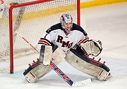 March 13 2016: Robert Morris Colonials goalie Terry Shafer (1) tends goal during the second period in game three of the Atlantic Hockey quarterfinals series between the Bentley Falcons and the Robert Morris Colonials at the 84 Lumber Arena in Neville Island, Pennsylvania (Photo by Justin Berl)