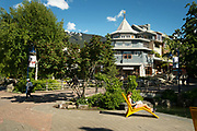 The Whistler Village on a sunny summer day.  Whistler BC, Canada.