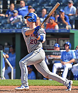 New York Mets first baseman Pete Alonso (20) hits a solo home run during the ninth inning against the Kansas City Royals at Kauffman Stadium.