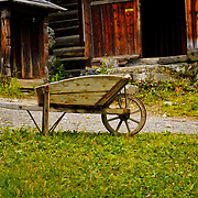 Old wheelbarrow at Maihaugen, Oppland, Norway.