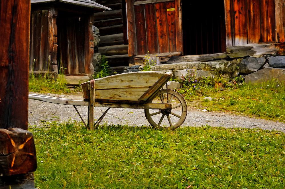 Old wheelbarrow at Maihaugen, Oppland, Norway.