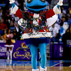 December 22, 2010; New Orleans, LA, USA; New Orleans Hornets mascot Hugo performs on the court before tip off of a game between the New Orleans Hornets and the New Jersey Nets at the New Orleans Arena.  Mandatory Credit: Derick E. Hingle