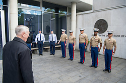Secretary of Defense Jim Mattis is welcomed to the U.S. Embassy in Copenhagen, Denmark, by U.S. service members on May 8, 2017. (DOD photo by U.S. Air Force Staff Sgt. Jette Carr)