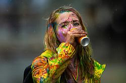 The Notting Hill carnival kicks gets underway in the rain on Ladbroke Grove in West London. London, August 26 2018.