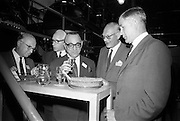 16/06/1967<br /> 06/16/1967<br /> 16 June 1967<br /> Delegates from the XVIth General Assembly of the Federation Internationale des Industries et du Commerce en Gro des Vins, Spiritueux, Eaux-de-Vie, et Liqueurs, sponsored by the Irish Distillers' Association visit John Power and Son Ltd  Distillery at John's Lane, Dublin. <br /> Picture shows: Mr Clem J. Ryan, (right) Production Director, John Power and Son Ltd giving a sample of Powers Gin to Mr Alexandre Zulas (3rd from right) of Greecewith Mr S.P. Onnes of Groningen, Holland and some of the other delegates. Mr Zulas was elected the new Vice-President of the International Federation at their General Assembly in Dublin.