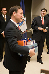 Supreme Court Associate Justice Samuel Anthony Alito, Jr. is presented with Thomas Jefferson themed gifts from Professsor Larry Sabato's undergraduate politics class at the University of Virginia in Charlottesville, VA on February 7, 2007.