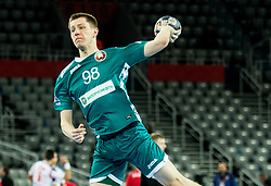 Mikalai Aliokhin of Belarus during handball match between National teams of Serbia and Belarus on Day 7 in Main Round of Men's EHF EURO 2018, on January 24, 2018 in Arena Zagreb, Zagreb, Croatia.  Photo by Vid Ponikvar / Sportida