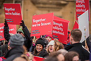 #March4Women 2018, a march and rally in London to celebrate International Women's Day and 100 years since the first women in the UK gained the right to vote.  Organised by Care International the march stated at Old Palace Yard and ended in a rally in Trafalgar Square.
