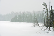 Snow falling at Fungus Lake<br /> <br /> West of Wawa<br /> Ontario<br /> Canada
