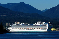Star Princess, Grand-class cruise ship, operated by Princess Cruises, exits Vancouver Harbor, Vancouver, British Columbia, Canada