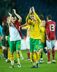 COPENHAGEN, DENMARK - Wednesday, November 19, 2008: Wales' Neal Eardley and Jack Collison after their side's 1-0 victory over Denmark during the international friendly match at the Brøndby Stadium. (Photo by David Rawcliffe/Propaganda)