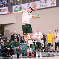 2nd year Right-Side hitter Matthew Aubrey (7) of the Regina Cougars in action during Men's Volleyball home game on February 10 at Centre for Kinesiology, Health and Sport. Credit: Arthur Ward/Arthur Images