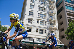 Katie Hall (USA) of UnitedHealthcare Cycling Team leans into a corner on Stage 3 of the Amgen Tour of California - a 70 km road race, starting and finishing in Sacramento on May 19, 2018, in California, United States. (Photo by Balint Hamvas/Velofocus.com)