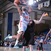 Delaware 87ers Guard DJ Seeley (18) drives towards the basket as Idaho Idaho Stampede Forward Jack Cooley (22) defends in the first half of a NBA D-league regular season basketball game between the Delaware 87ers and the Idaho Stampede (Utah Jazz) Tuesday, Feb. 03, 2015 at The Bob Carpenter Sports Convocation Center in Newark, DEL