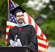 Arlington High faculty Michael Sandler addresses the crowd during the graduation exercises for the Class of 2017 at the Warren A. Peirce Field in Arlington, June 3, 2017.   [Wicked Local Photo/James Jesson].