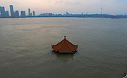 WUHAN, CHINA - JULY 09: <br /> <br /> A pavilion is submerged in floodwaters on July 10, 2016 in Wuhan, Hubei Province of China. Many parts of Wuhan city have been submerged in floodwaters since July 7, due to torrential rains and flood peaks on the Yangtze river.<br /> ©Exclusivepix Media