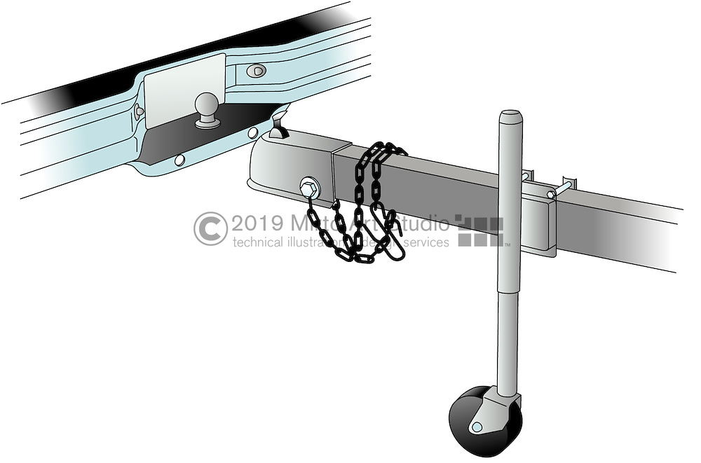A vector illustration showing a trailer hitch and  vehicle bumper and towing ball.