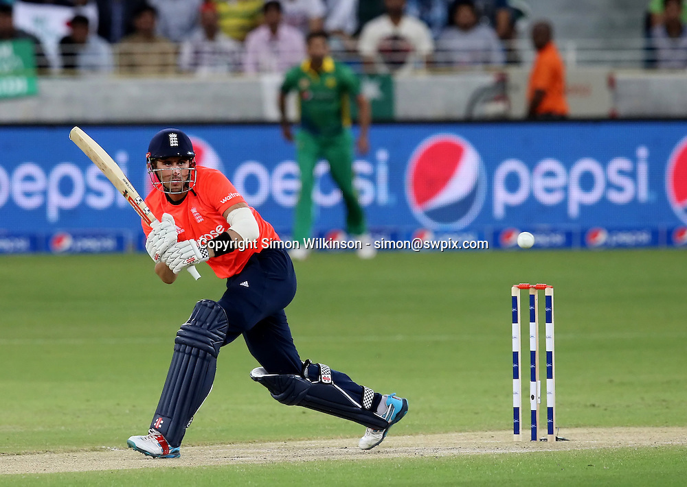 PICTURE BY MARK GREEN/SWPIX.COM  Pakistan v England 1st T20, Dubai Internayional Stadium, UAE, 26/11/15 <br /> England's Alex Hales went cheaply for only 8 caught Shahid Afridi bowled Anwar Ali