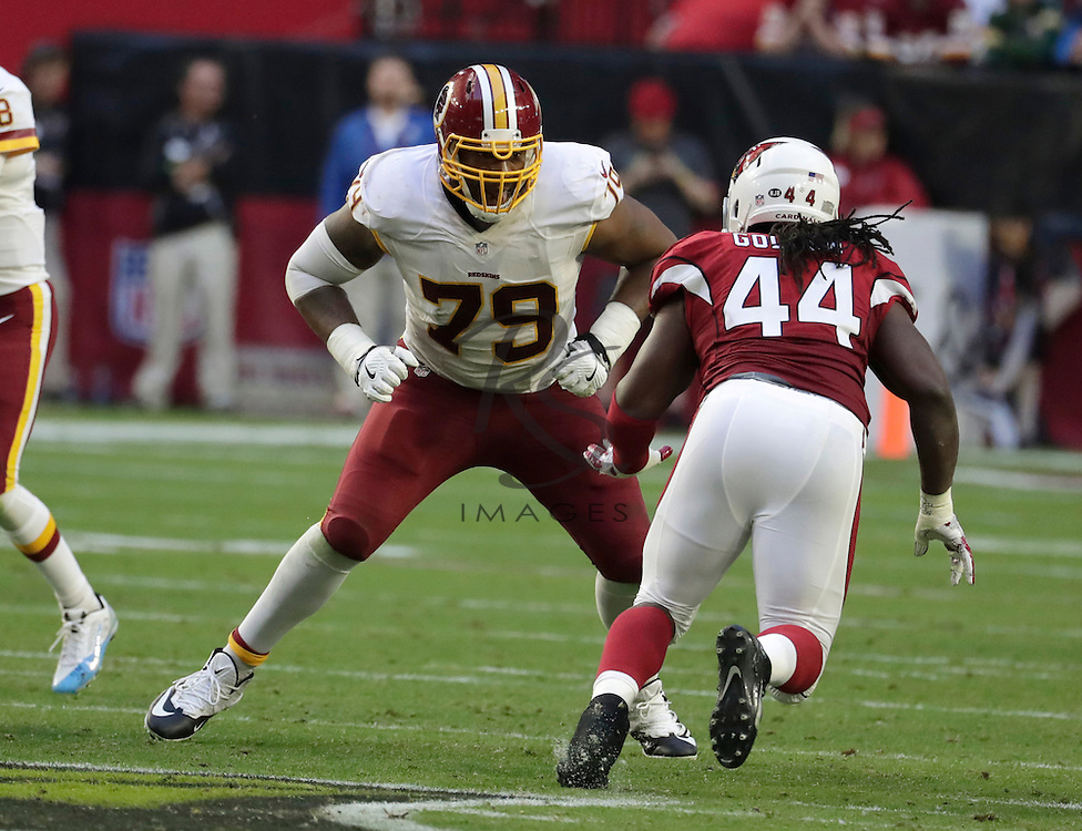 Washington Redskins tackle Ty Nsekhe (79) during an NFL football game against the Arizona Cardinals, Sunday, Dec. 4, 2016, in Glendale, Ariz. (AP Photo/Rick Scuteri)