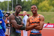 Second placer in the Men's 100m, Reece PRESCOD of Great Britain posses with teammate, Zharnel HUGHES during the Muller Grand Prix 2018 at Alexander Stadium, Birmingham, United Kingdom on 18 August 2018. Picture by Toyin Oshodi.