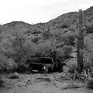 An abandoned truck in the desert on Sunday, July 13, 2008 in North Komelik, AZ.
