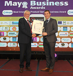 Most Innovative Product at the Mayo Business Awards was won by Agrispread Ballyhaunis, James O&rsquo;Doherty presented the award to Murphy at the awards nightin the Broadhaven Hotel Belmullet.<br /> Pic Conor McKeown