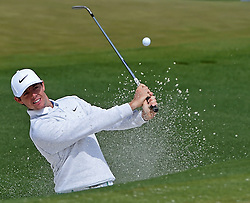 April 6, 2016 - Augusta, Georgia, U.S. - RORY MCILROY hits a ball from a sand trap during practice on Wednesday at Augusta National Golf Club. First round action of The Masters tournament begins on Thursday. (Credit Image: © Jeff Siner/TNS via ZUMA Wire)
