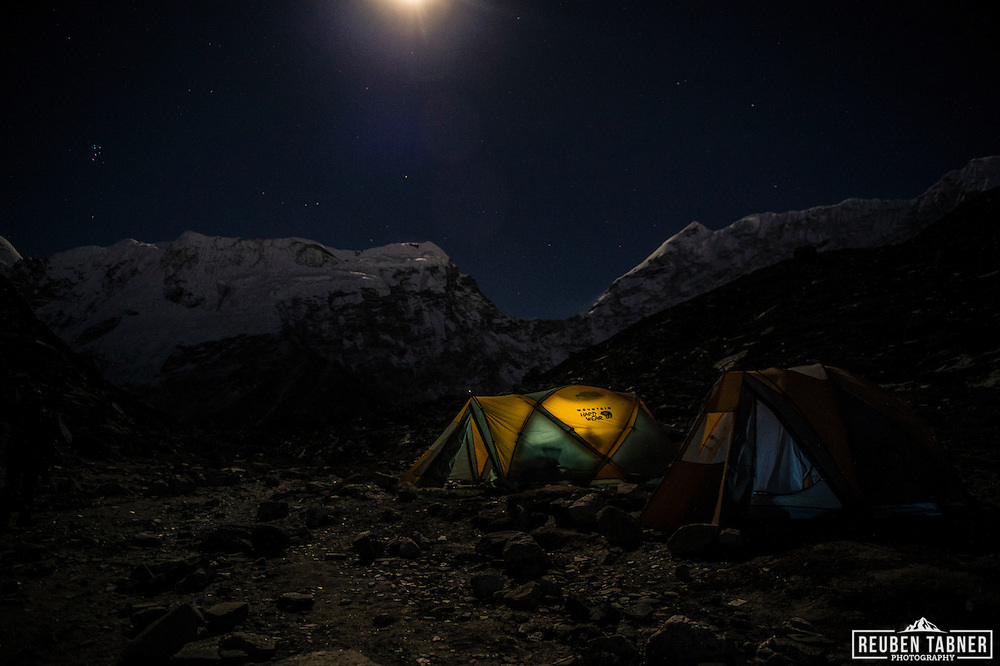 The moon rises above tents at Island Peak Base Camp (4970m).
