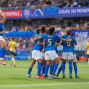 MONTPELLIER, FRANCE June 13.  Marta #10 of Brazil celebrates with teammates after scoring her sides first goal from the penalty spot during the Australia V Brazil, Group C match at the FIFA Women's World Cup at Stade La Mosson Stadium on June 13th 2019 in Montpellier, France. (Photo by Tim Clayton/Corbis via Getty Images)