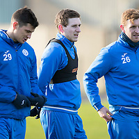 St Johnstone Training….27.12.16<br />Blair Alston pictured in training this morning at McDiarmid Park with Graham Cummins and Liam Craig ahead of tomorrow's game against Rangers<br />Picture by Graeme Hart.<br />Copyright Perthshire Picture Agency<br />Tel: 01738 623350  Mobile: 07990 594431