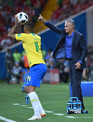 ROSTOV-ON-DON, June 17, 2018  Brazil's head coach Tite (R) reacts during a group E match between Brazil and Switzerland at the 2018 FIFA World Cup in Rostov-on-Don, Russia, June 17, 2018. (Credit Image: © Li Ga/Xinhua via ZUMA Wire)