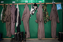Panda costumes that are worn by caretakers hang inside the<br />