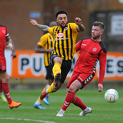 TELFORD COPYRIGHT MIKE SHERIDAN 2/3/2019 - Jay Rollins battles for the ball with Steph Morley of AFC Telford during the National League North fixture between Boston United and AFC Telford United at the York Street Jakemans Stadium