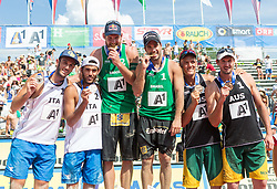 03.08.2014, Strandbad, Klagenfurt, AUT, A1 Beachvolleyball Grand Slam 2014, Finalspiel, im Bild v.l. Silber für Daniele Lupo (ITA), Paolo Nicolai (ITA), Gold für Bruno Oscar Schmidt (BRA), Alison CONTE Cerutti (BRA) und Bronze für Isaac Kapa (AUS), Christopher McHugh (AUS) // during the A1 Beachvolleyball Grand Slam at the Strandbad Klagenfurt, Austria on 2014/08/03. EXPA Pictures © 2014, EXPA Pictures © 2014, PhotoCredit: EXPA/ Mag. Gert Steinthaler