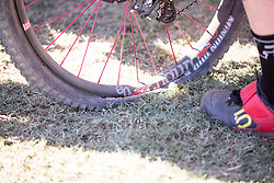 Jill Kinter's flat tyre after having finished in third position at the 2014 UCI Mountainbike World Cup in Pietermaritzburg.
