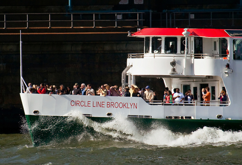Rough waters as the Circle Liner goes under the Manhattan Bridge.