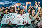 Excited fans watch asThe 1975 play the Obelisk Stage - The 2017 Latitude Festival, Henham Park. Suffolk 14 July 2017