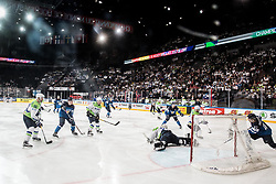 Gasper Kroselj of Slovenia vs Antti Pihlstrom of Finland during the 2017 IIHF Men's World Championship group B Ice hockey match between National Teams of Finland and Slovenia, on May 10, 2017 in AccorHotels Arena in Paris, France. Photo by Vid Ponikvar / Sportida