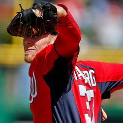 Mar 6, 2013; Clearwater, FL, USA; Washington Nationals starting pitcher Stephen Strasburg (37) throws against the Philadelphia Phillies during the bottom of the third inning of a spring training game at Bright House Field. Mandatory Credit: Derick E. Hingle-USA TODAY Sports