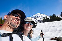 A self portrait of a middle aged couple hiking, Mount Rainier National Park, Washington, USA.