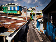 "20 JUNE 2017 - BANGKOK, THAILAND: Homes on stilts in a community along the Chao Phraya River south of Krung Thon Bridge. This is one of the first parts of the riverbank that is scheduled to be redeveloped. The communities along the river don't know what's going to happen when the redevelopment starts. The Chao Phraya promenade is development project of parks, walkways and recreational areas on the Chao Phraya River between Pin Klao and Phra Nang Klao Bridges. The 14 kilometer long promenade will cost approximately 14 billion Baht (407 million US Dollars). The project involves the forced eviction of more than 200 communities of people who live along the river, a dozen riverfront  temples, several schools, and privately-owned piers on both sides of the Chao Phraya River. Construction is scheduled on the project is scheduled to start in early 2016. There has been very little public input on the planned redevelopment. The Thai government is also cracking down on homes built over the river, such homes are said to be in violation of the ""Navigation in Thai Waters Act."" Owners face fines and the possibility that their homes will be torn down.              PHOTO BY JACK KURTZ"