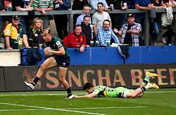 Ollie Hassell-Collins of London Irish gets past Tom Collins of Northampton Saints - Mandatory by-line: Robbie Stephenson/JMP - 29/07/2017 - RUGBY - Franklin's Gardens - Northampton, England - Northampton v London Irish - Singha Premiership Rugby 7s