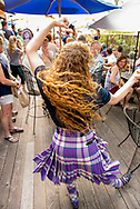 Caledonian Pipe Band, dancer, Glenns Food and Spirits, Livingston, Montana, 4th of July, celebration