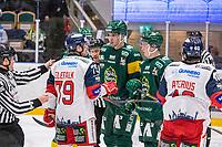 2019-10-15 | Umeå, Sweden: Västervik (79) Adrian Elefalk and Björklöven (5) Hardy Häman Aktell having a small talk in HockeyAllsvenskan during the game  between Björklöven and Västervik at A3 Arena ( Photo by: Michael Lundström | Swe Press Photo )<br /> <br /> Keywords: Umeå, Hockey, HockeyAllsvenskan, A3 Arena, Björklöven, Västervik, mlbv191015